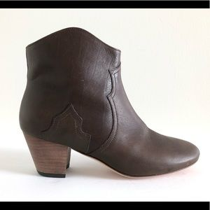Isabel Marant Dicker Leather Western Ankle Booties